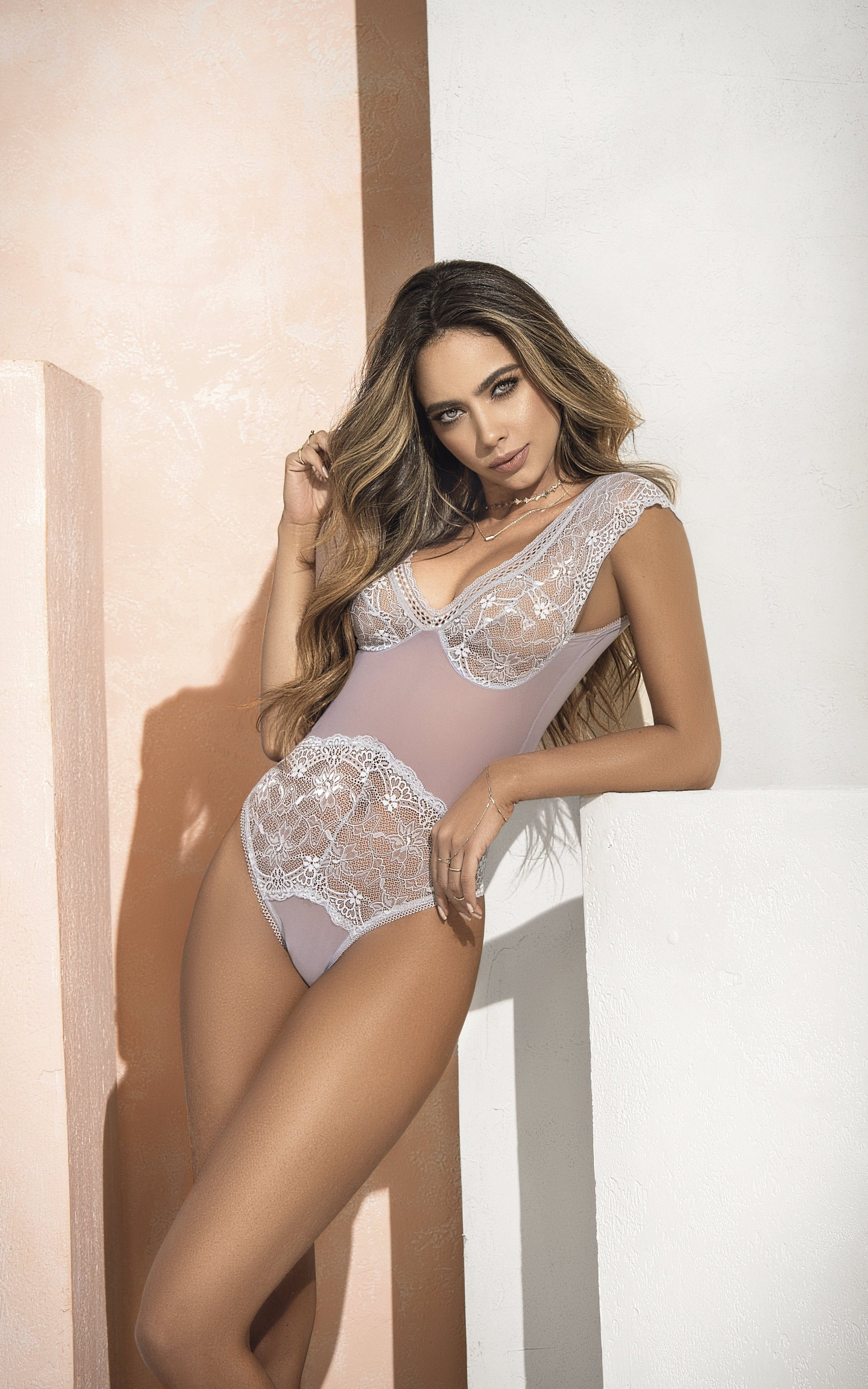 cool lingerie model wearing see through clothes